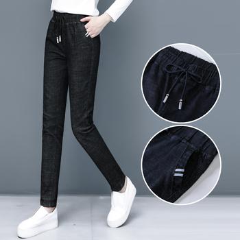 松紧腰牛仔裤女2020夏季新款韩版长裤高腰宽松显瘦女士哈伦裤薄款