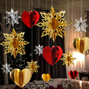 商场店铺吊饰表白求婚生日爱心吊坠装饰珠宝店场景室内布置拍照