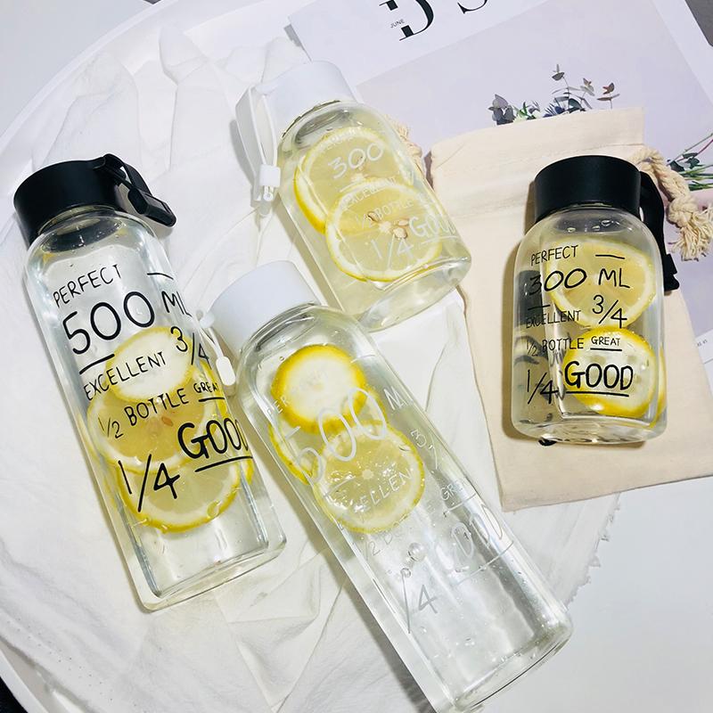 夏季新款便捷提绳韩版简约英文马克杯创意男女学生玻璃杯随手水杯