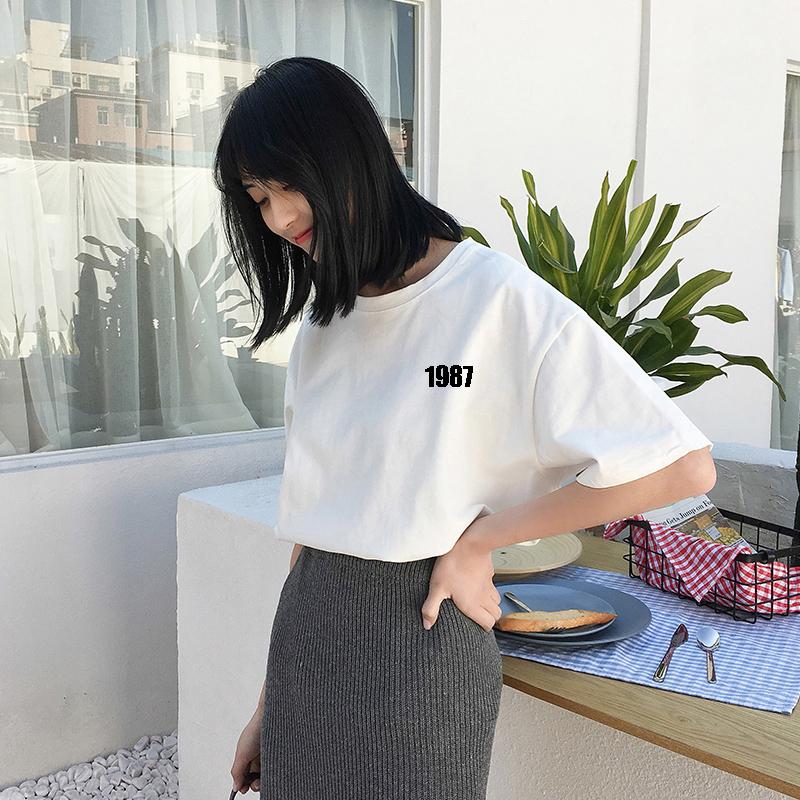 韩国ins复古字母印花原宿风bf短袖纯棉t恤女学生ulzzang半袖上衣