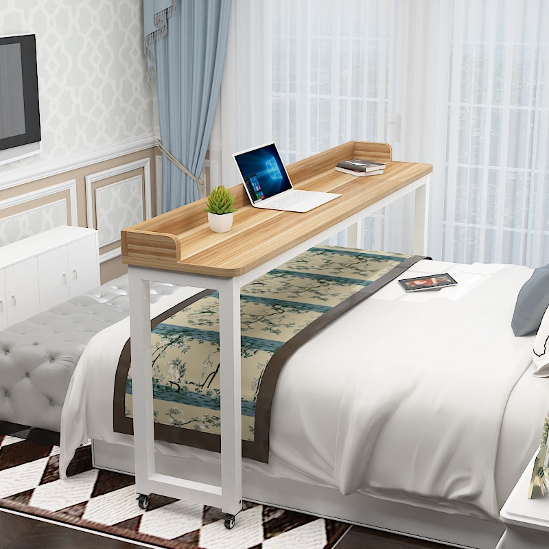 Rounded cross bed table movable rectangular multi-function double bed side table notebook computer table household lazy bed