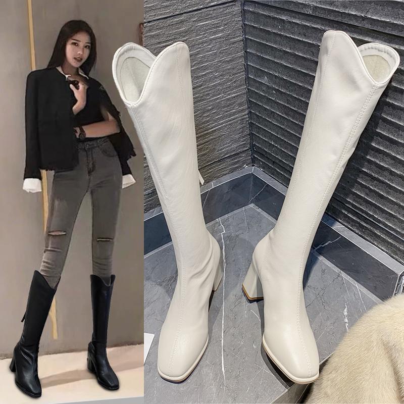 长筒靴女2020年新款冬爆款ins网红瘦瘦靴高筒高跟白色2021春长靴