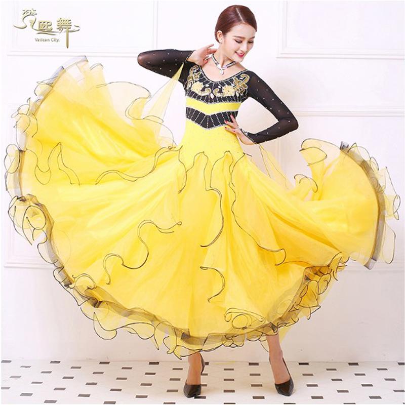 彩钻国标舞表演舞蹈裙女长袖摩登舞连衣裙大摆练习长裙华尔兹舞裙