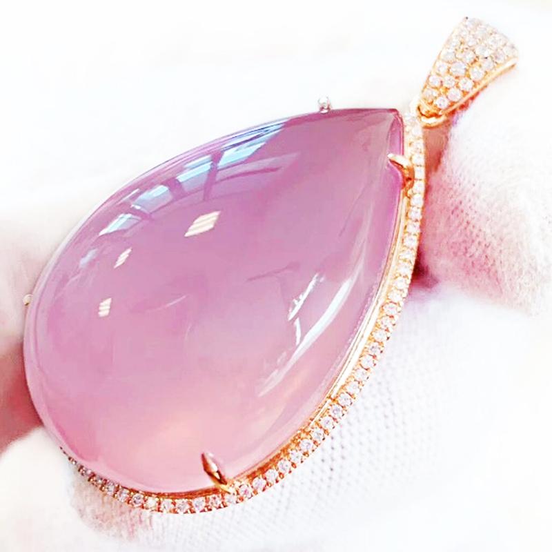2020新品莫桑比克粉晶吊坠芙蓉石女款18K金镶嵌-芙蓉石(呼啦啦旗舰店仅售2680元)