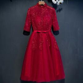 2019冬款新娘敬酒服中长款红色结婚礼服显瘦订婚回门服宴会晚礼服