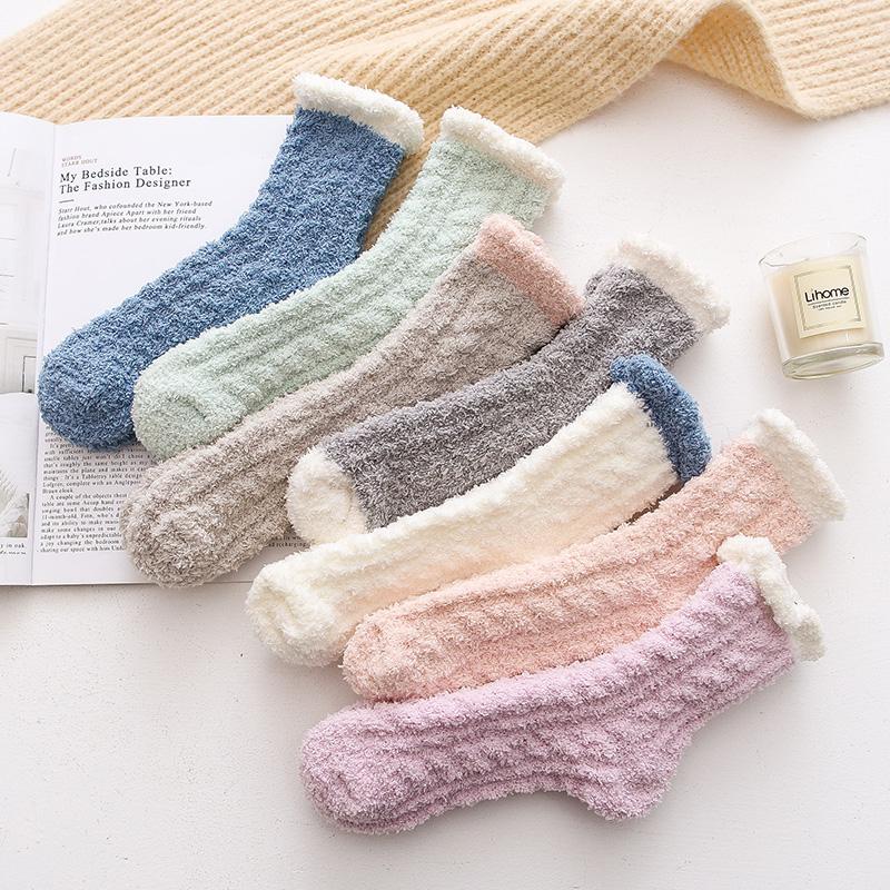 珊瑚绒袜子女秋冬季加绒加厚款中筒睡眠觉毛巾地板家居月子袜产后