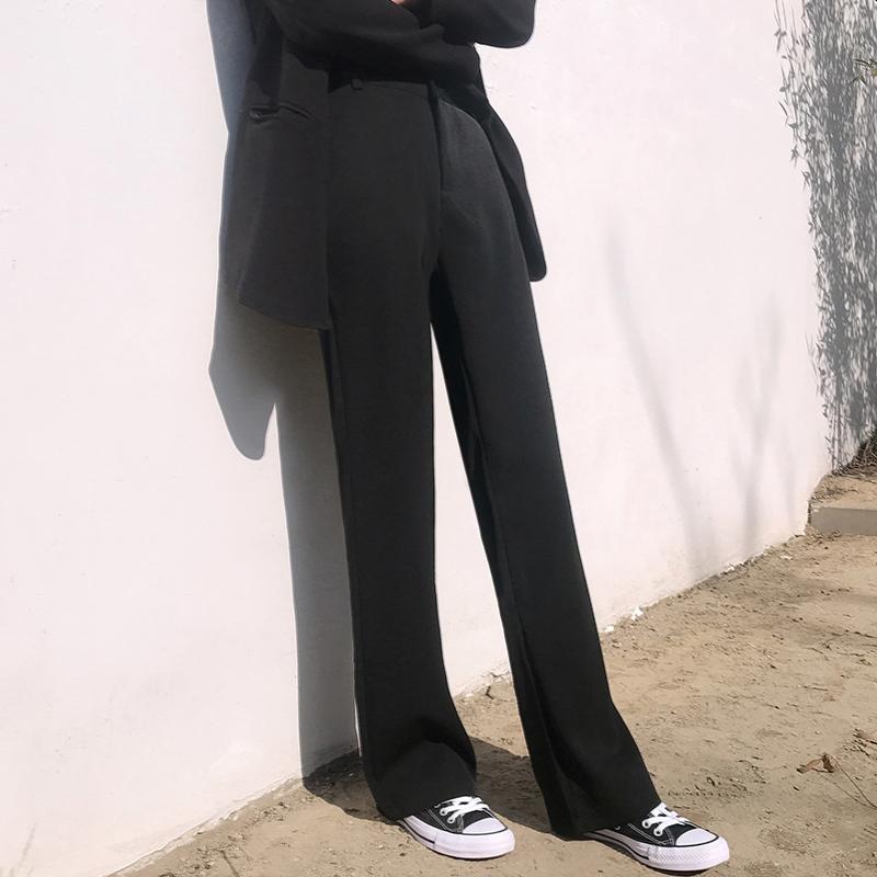 12月02日最新优惠西装裤女毛呢宽松垂感拖地休闲裤