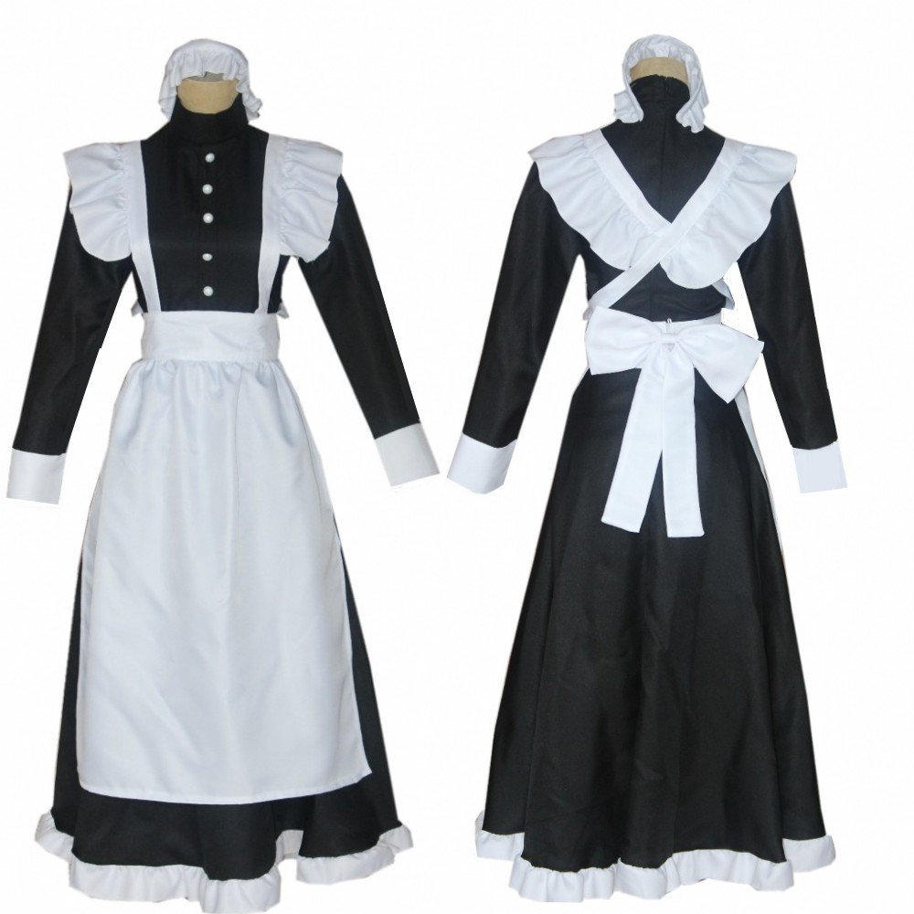 Classic black and white maid cos British style pearl line long coffee shop maid cosplay