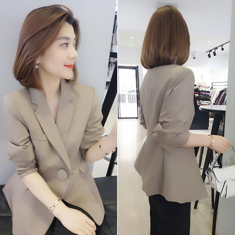 欧洲站春季女装2021新款欧货潮洋气纯色修身百搭气质小西装短外套