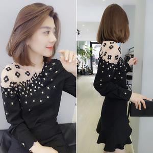 黑色蕾絲小眾心機設計感長袖法式襯衫歐洲站秋季女裝2020新款歐貨