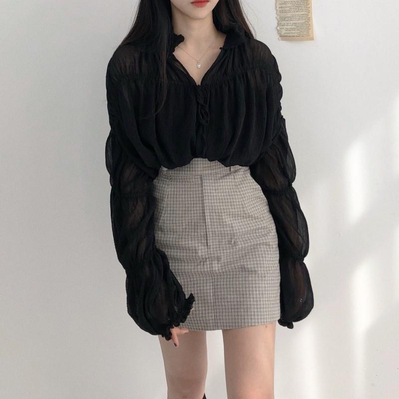 香港代购韩国ins洋气雪纺上衣女开衫薄款褶皱短外套+格纹半身裙两