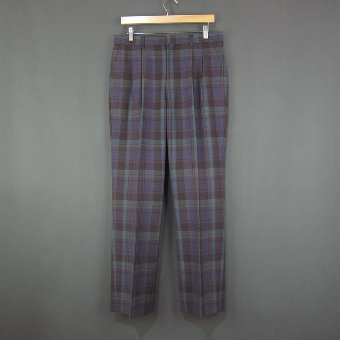 Thailand multi color Plaid polyester blend pants spring casual wide leg pleated mens trousers w82