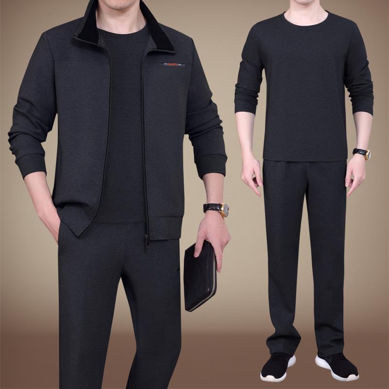 男士运动套装秋装休闲大码中年运动装运动服男中老年爸爸秋装套装