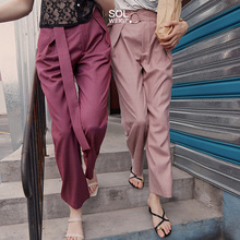 2020 spring new wide belt pants casual commuter pants straight tube suit wide leg pants women's high waist sagging