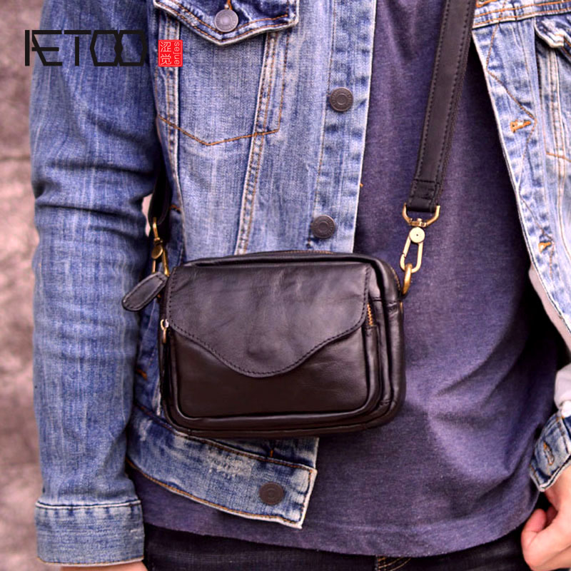 Mens bag retro One Shoulder Messenger Bag NEW LEATHER postman bag leisure small bag head leather bag backpack mens bag