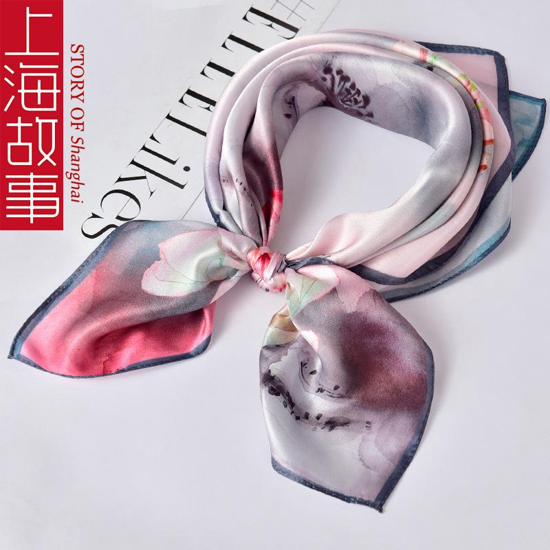 上海故事丝巾小方巾女春秋薄百搭100%桑蚕丝真丝围巾重阳节送妈妈