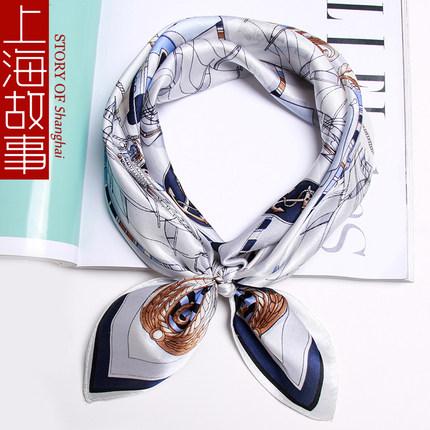 上海故事小方巾女春秋冬季100%丝巾