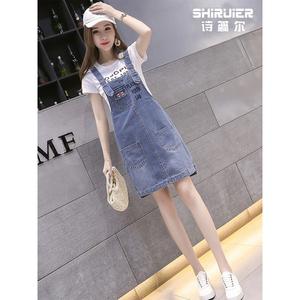 牛仔背带裙女夏季薄款2021新款女装韩版减龄小个子连衣裙子套装潮