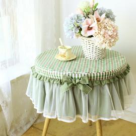 水洗棉蓝色格子小圆桌布圆形家用圆桌布茶几纯棉蕾丝圆床头柜罩