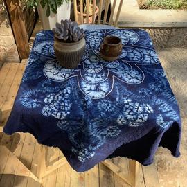 扎染桌布壁挂居家饰品餐厅装饰盖布田园风大理特色蓝染礼物