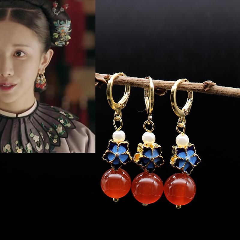 Pure silver earrings of huanzhu Pavilion