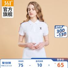 棉T恤2019夏季 寬松女士透氣休閑POLO衫 新款 翻領體恤衫 361運動短袖