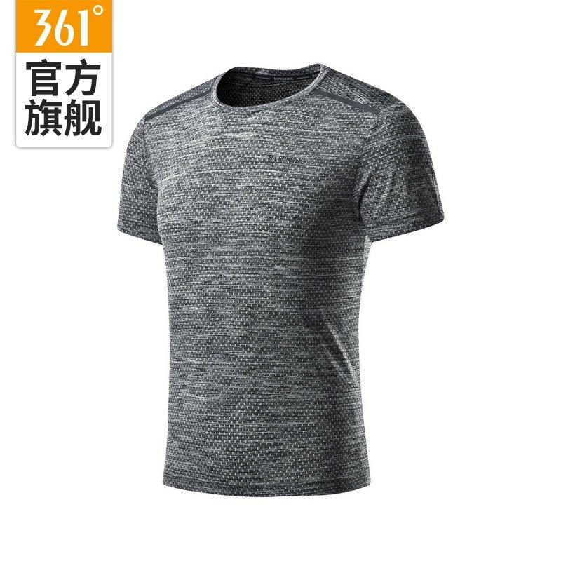 361度男装2018夏季圆领经典T恤男361反光印花超轻弹力圆领运动T恤