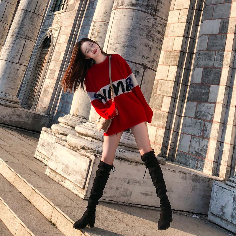 网红矮个子水貂绒毛衣女秋冬韩版宽松外穿慵懒风套头中长款连衣裙