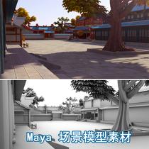 maya场景素材三维动画场景Q版卡通古代建筑场景模型房子模型