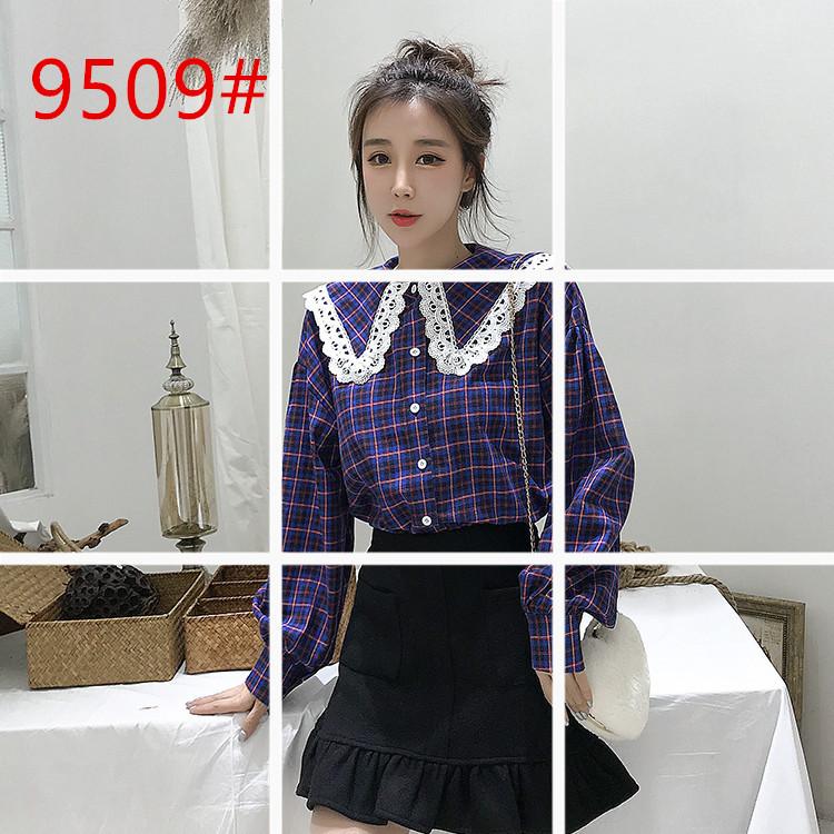 2018新款韩版ulzzang单排扣格子衬衫女蕾丝拼接娃娃领百搭上衣潮