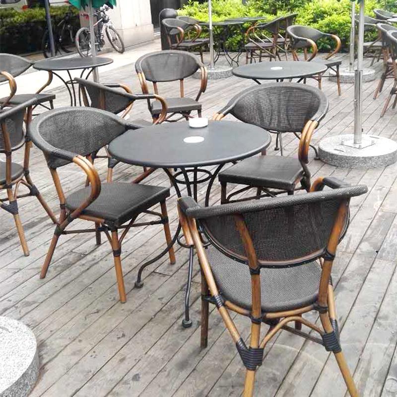 澳朵休闲家具咖啡厅庭院露台外摆室外藤椅组合三五件套户外桌椅