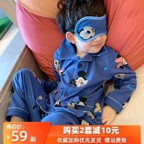 儿童睡衣男童春秋季纯棉长袖男孩宝宝秋款小童全棉家居服亲子套装