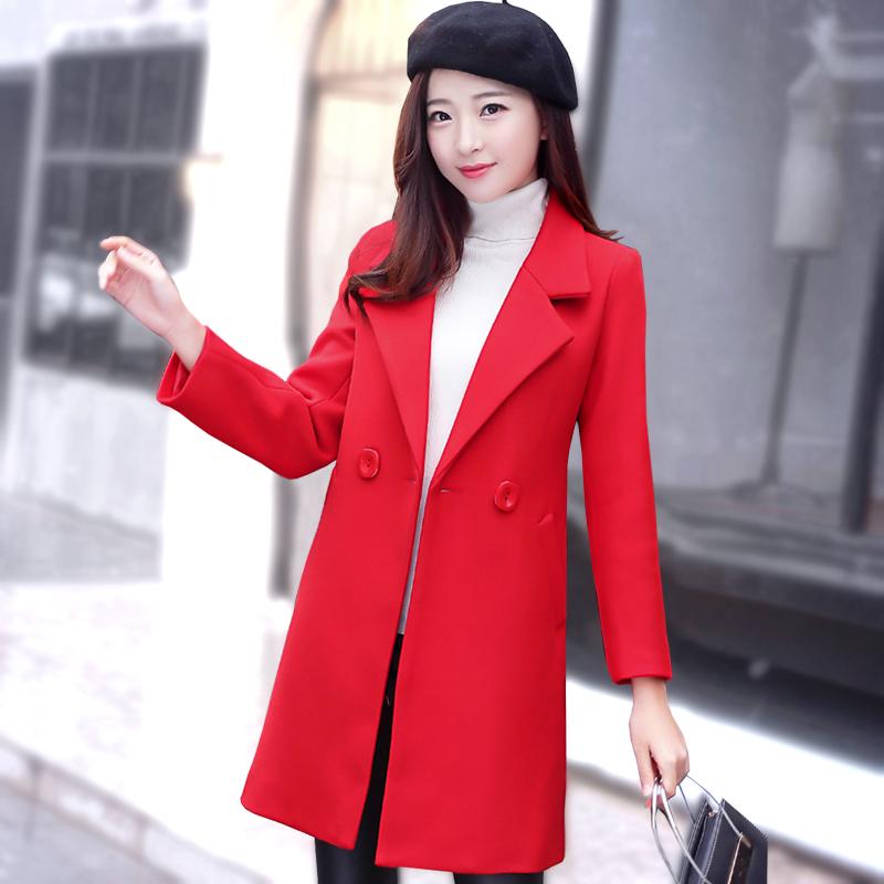 毛呢外套女中长款冬加厚2020新款秋冬季韩版修身显瘦呢子大衣加棉