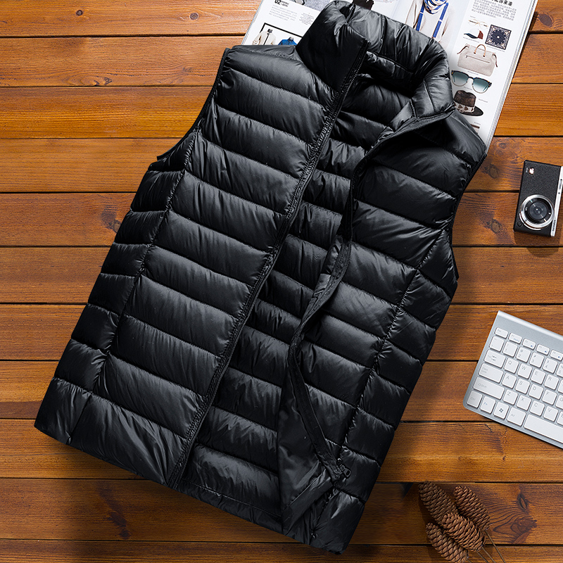 Down vest men's autumn and winter leisure trend, handsome, lightweight, warm vest, wear cotton vest jacket inside and outside
