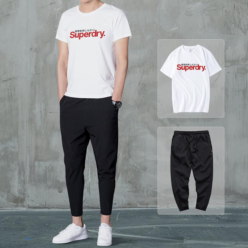英国Superdry极度干燥潮牌T恤男士套装夏季两件套休闲一套搭配帅