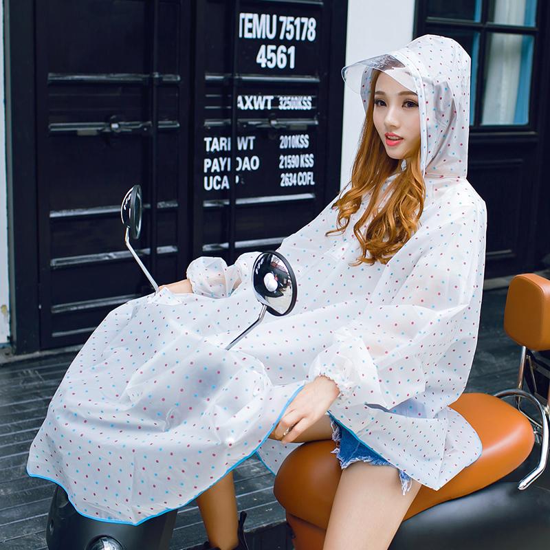 户外游 韩国时尚半透明波点环保雨衣电动车自行车有袖带帽檐雨披