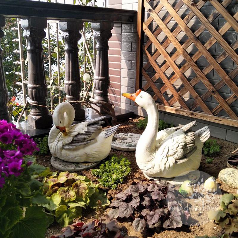 比如树│户外花园小品天鹅摆件 鹅 庭院别墅景观装饰仿真动物包邮