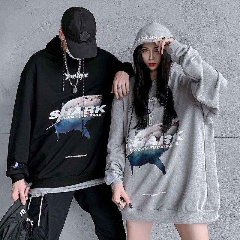 国潮春秋2020新款鲨鱼印花宽松oversize卫衣女潮流小众情侣装潮牌