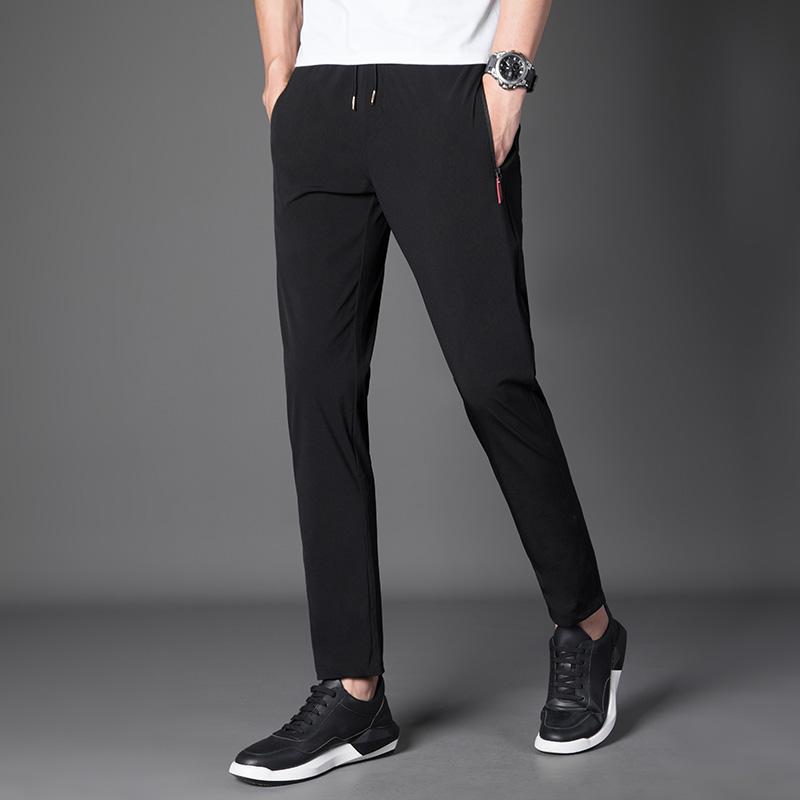 夏季薄款裤子男士韩版潮流休闲裤修身小脚宽松速干直筒百搭运动裤