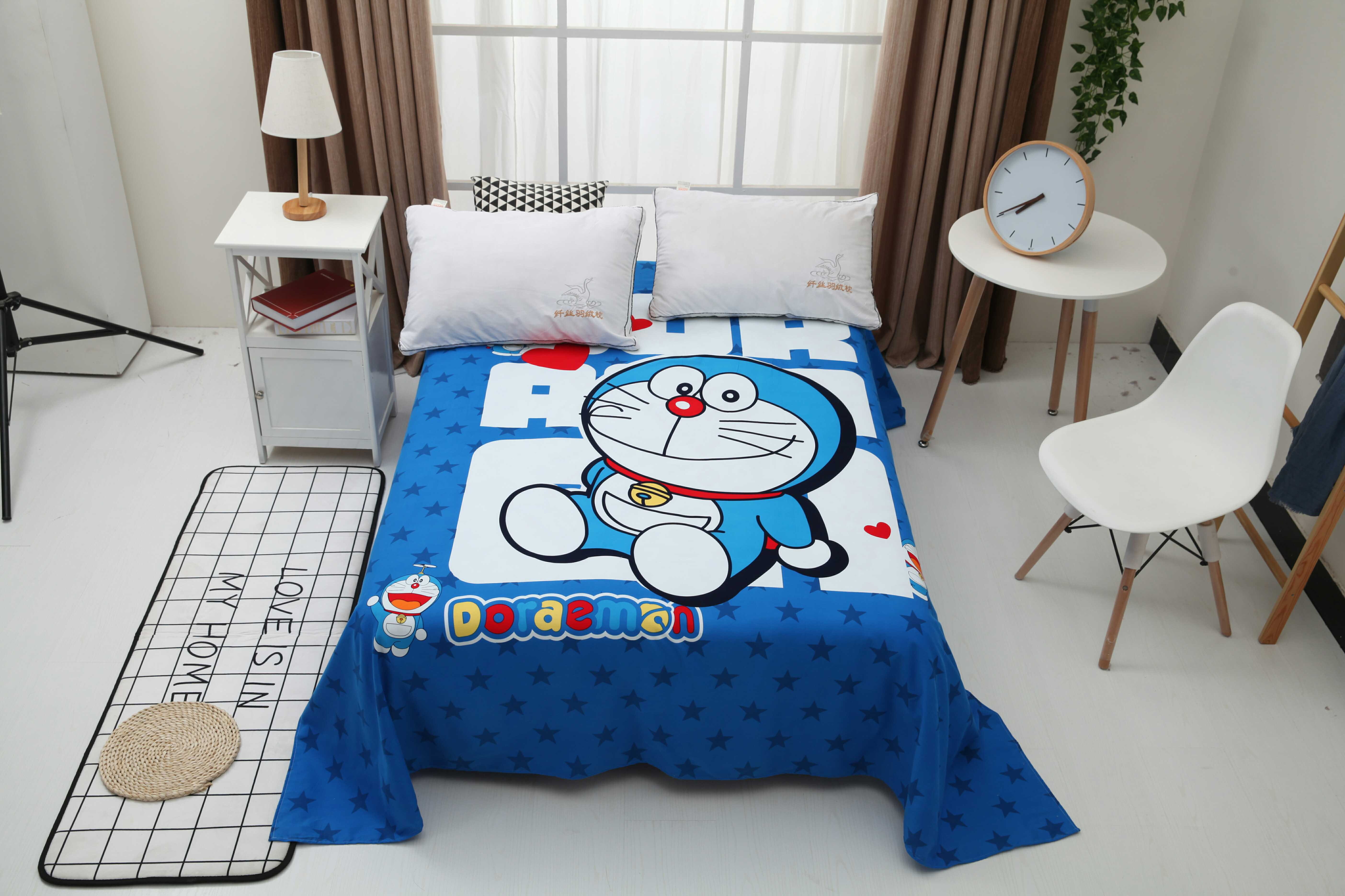 純綿アニメ大版ポジショニングプリントマシン猫ベッド上のダブルシーツオルト生地ドラえもんシンプルモデル