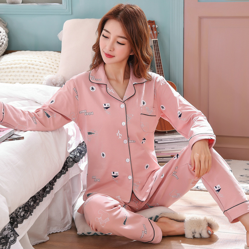 Pajamas womens spring autumn cotton long sleeve summer mens all cotton thin loose Korean couple home suit