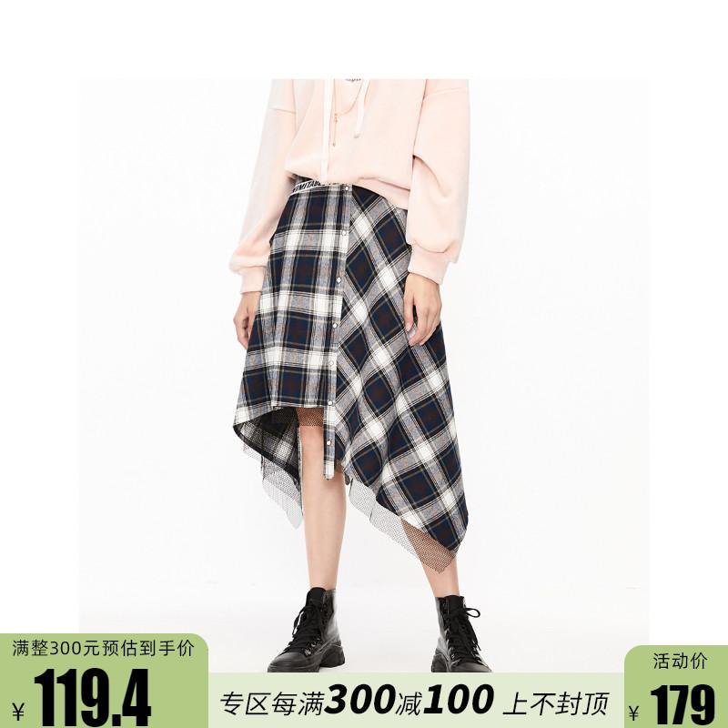 [新]ONLY冬新款A字不规则下摆高腰格子拼接半身裙女 119416504