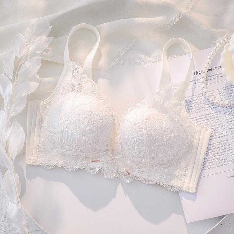 白色内衣女小胸聚拢夏季薄款无钢圈蕾丝胸罩收副乳防下垂文胸套装