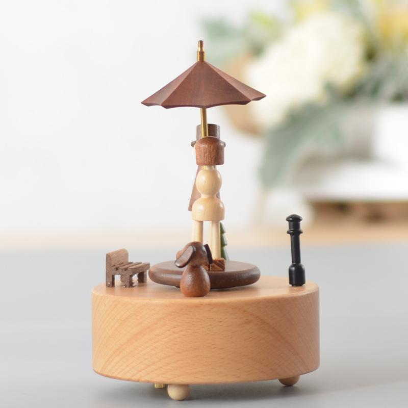 台州工艺品摆件实木手工音乐盒雨中邂逅情人节礼物木质工艺品