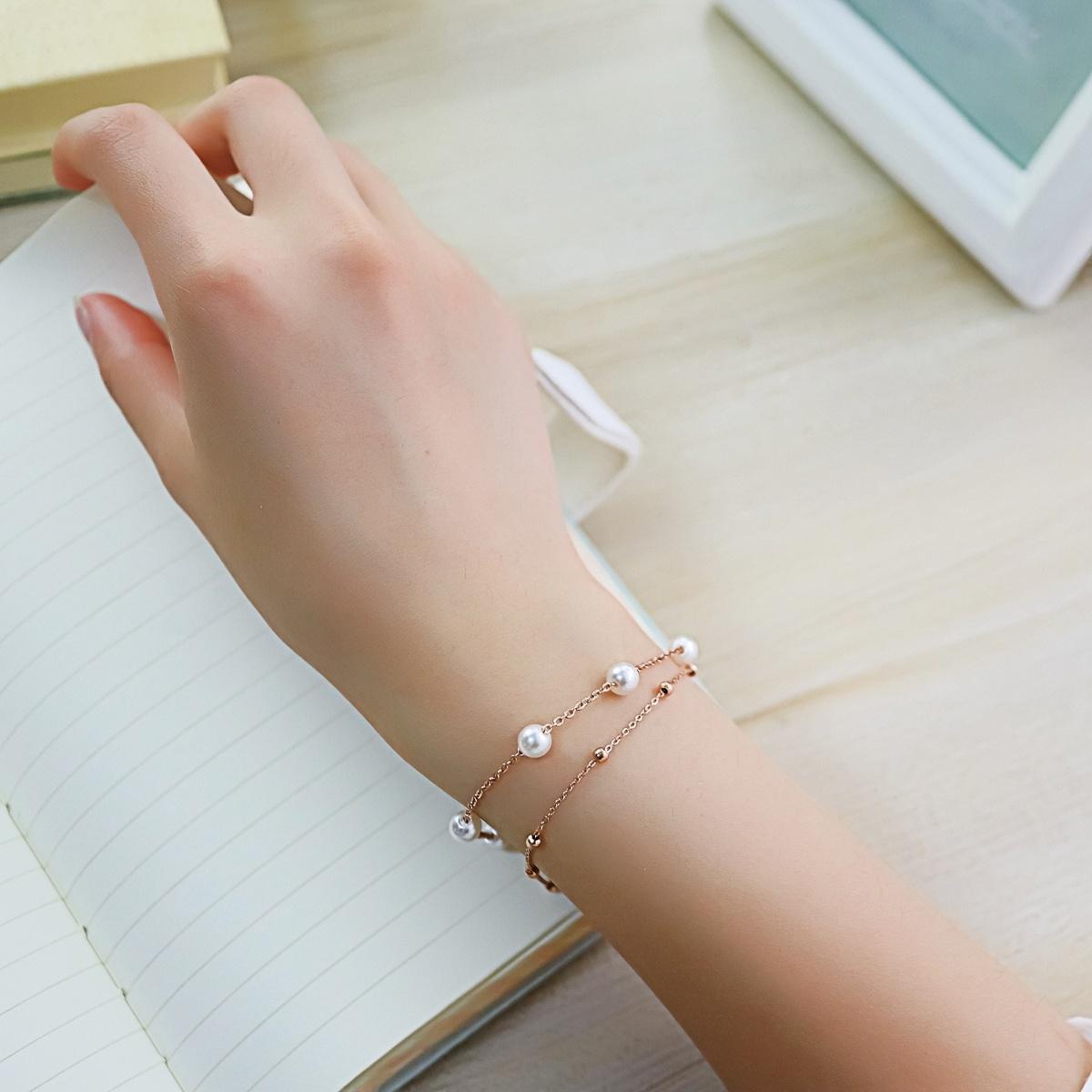 C6珍珠手链女小清新送闺蜜双层手环气质日韩约会送闺蜜礼物