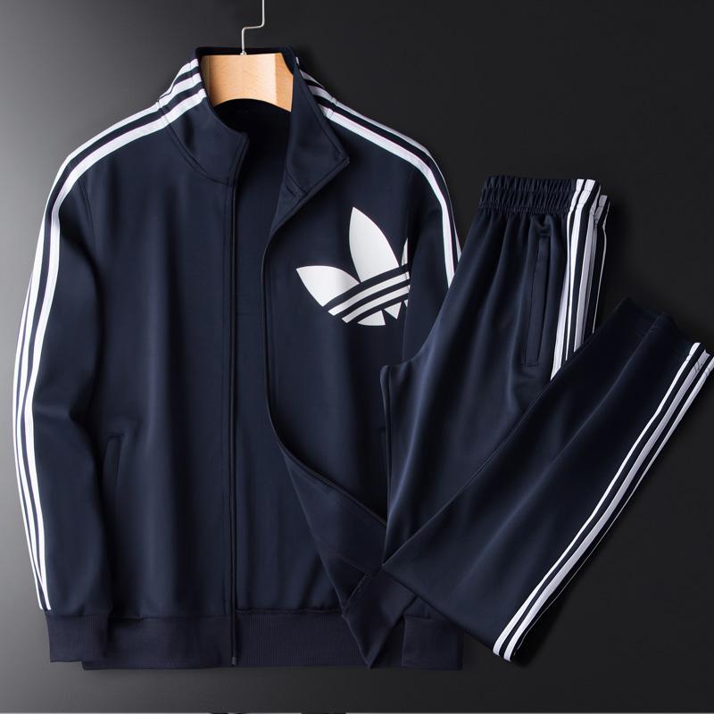 三道杠运动套装男士跑步衣服一套运动服休闲装三条杠秋装品牌外套