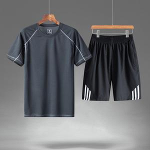 短袖T恤时尚运动套装男中老年人冰丝夏装夏天衣服爸爸装夏季男装