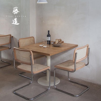 Square table round table dessert shop coffee table and chair modern simple solid wood round table ins milk tea restaurant square