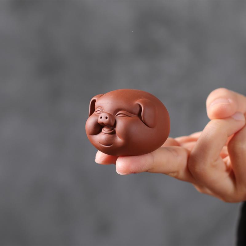 宇轩 紫砂茶宠摆件茶玩茶艺小猪精品可养招财小福猪茶盘茶虫家居