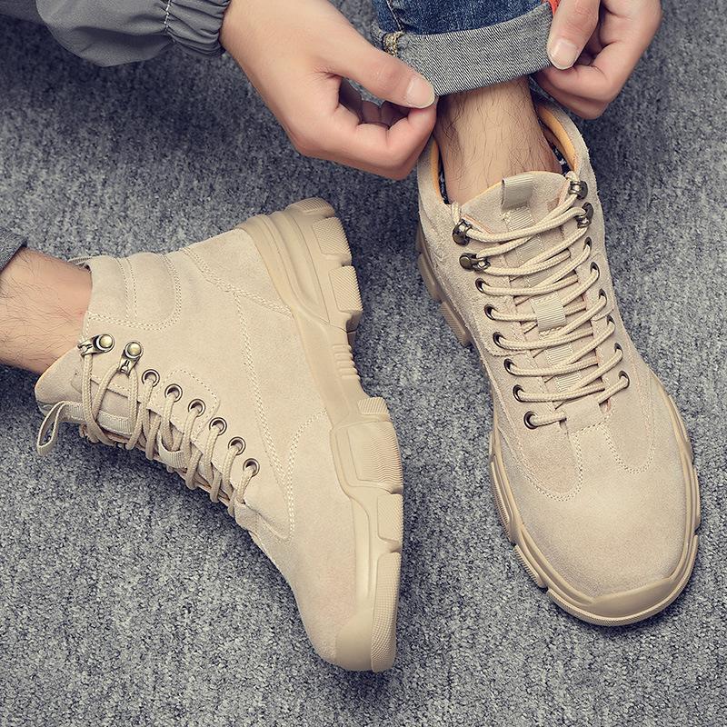冬季高帮马丁靴英伦复古沙漠短靴百搭工装靴男士真皮军靴战术靴男